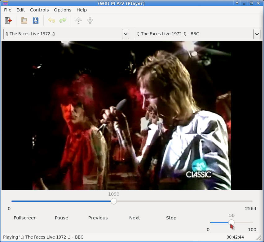 Screenshot of wxmav playing video.